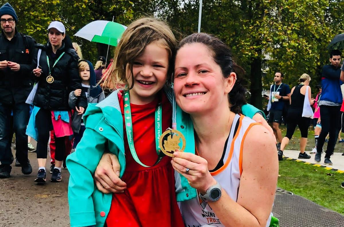 A runner and her daughter fundraising