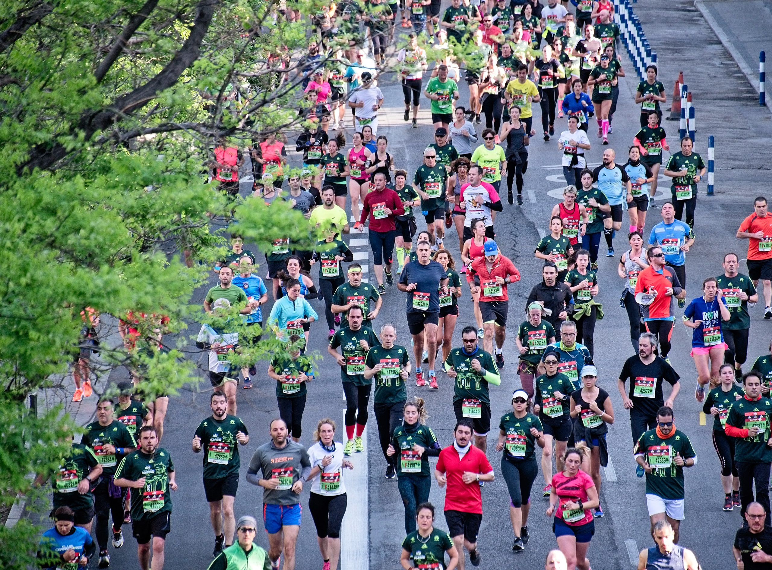 A birds eye view of people running down a road in a race